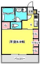 大阪モノレール 門真市駅 徒歩9分の賃貸マンション 3階1Kの間取り