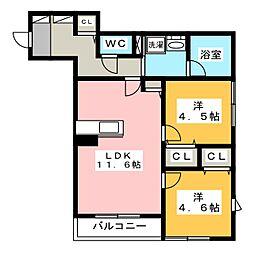 グローリアス 2階2LDKの間取り