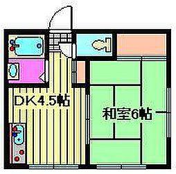 埼玉県川口市小谷場の賃貸アパートの間取り