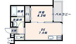 JR片町線(学研都市線) 徳庵駅 徒歩3分の賃貸アパート 2階1DKの間取り