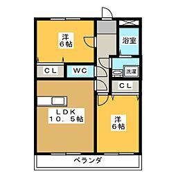 サンモール美木[2階]の間取り