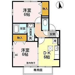 山口県山陽小野田市中央1の賃貸アパートの間取り