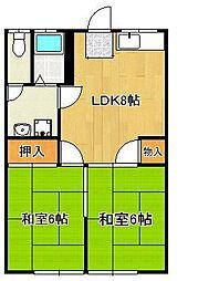 JR筑豊本線 鞍手駅 バス12分 鞍手局下車 徒歩4分の賃貸アパート 2階2LDKの間取り