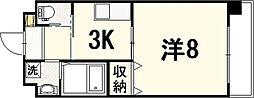 ソフィアコート光町 9階1Kの間取り