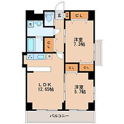 仙台市地下鉄東西線 連坊駅 徒歩8分の賃貸マンション 11階2LDKの間取り