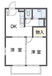 神奈川県座間市栗原中央3丁目の賃貸アパートの間取り