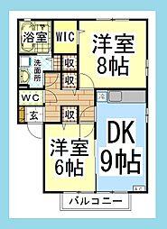 DL リビングタウン大和南B[D-ROOM][1階]の間取り