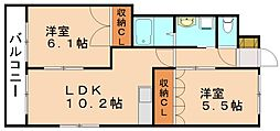 コンフォート穂波[2階]の間取り