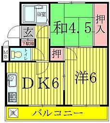 ガーデンフィール東台[2階]の間取り
