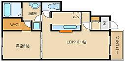 大阪府羽曳野市高鷲2丁目の賃貸アパートの間取り