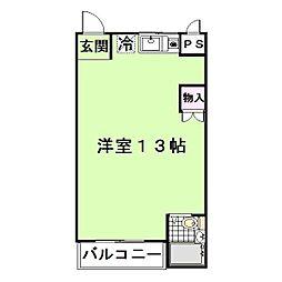 メゾンドゥ T2WO 3階ワンルームの間取り