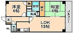 兵庫県伊丹市北河原2丁目の賃貸マンションの間取り