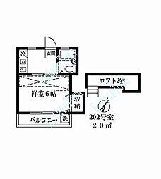 東京都大田区北千束3丁目の賃貸アパートの間取り