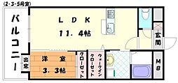 東福間駅前バモス[3階]の間取り