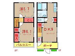 [テラスハウス] 千葉県船橋市咲が丘2丁目 の賃貸【千葉県 / 船橋市】の間取り