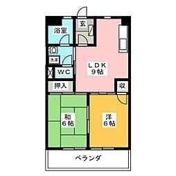 第3長住ハイツ[3階]の間取り
