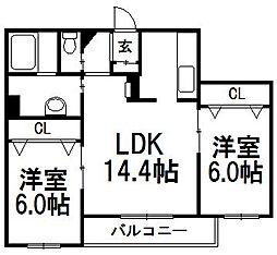 グランメールアサヒIII[2階]の間取り