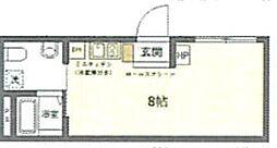(仮称)台東区上野桜木2丁目マンションB 4階ワンルームの間取り