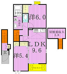千葉県松戸市幸田5丁目の賃貸アパートの間取り