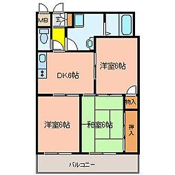 サンライト青山[302号室]の間取り