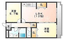 兵庫県神戸市西区池上3の賃貸マンションの間取り