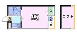 シャトー長岡[3階]の間取り