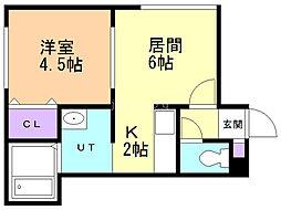 エースマンション 2階1DKの間取り