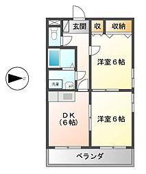 愛知県名古屋市中川区五女子町2の賃貸マンションの間取り