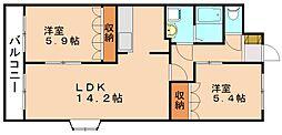福岡県飯塚市小正の賃貸アパートの間取り