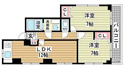 兵庫県神戸市灘区赤坂通8丁目の賃貸アパートの間取り