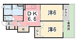 兵庫県高砂市神爪5丁目の賃貸アパートの間取り