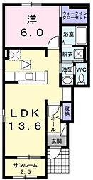 近鉄山田線 斎宮駅 徒歩21分の賃貸アパート 1階1LDKの間取り