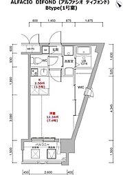 福岡市地下鉄箱崎線 呉服町駅 徒歩12分の賃貸マンション 9階1Kの間取り