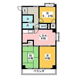 エクセランス川松[4階]の間取り