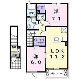 熊本電気鉄道 御代志駅 バス21分 深川下車 徒歩8分の賃貸アパート 2階2LDKの間取り