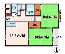 三東ハイツ 3階2LDKの間取り