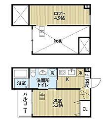 愛知県名古屋市北区西志賀町2丁目の賃貸アパートの間取り