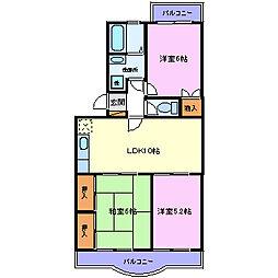 ラ・フォーレくらば2[3階]の間取り