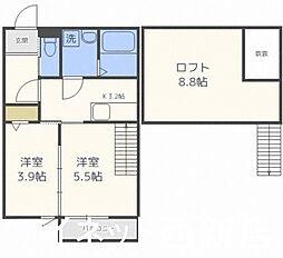 福岡市地下鉄七隈線 野芥駅 徒歩2分の賃貸アパート 2階1SLDKの間取り