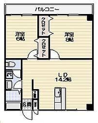 神奈川県横浜市鶴見区朝日町2丁目の賃貸マンションの間取り