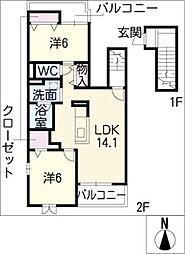 カーサベンネII[2階]の間取り