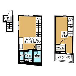 リフュージュ・オー・フォレストIII 2階1LDKの間取り