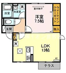 JR伯備線 清音駅 徒歩17分の賃貸アパート 1階1LDKの間取り