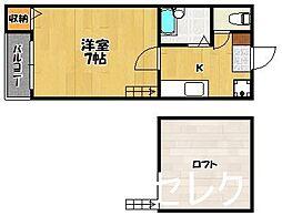 福岡県福岡市博多区博多駅南5の賃貸アパートの間取り