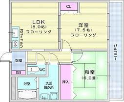 JR東北本線 岩沼駅 徒歩9分の賃貸マンション 2階2DKの間取り