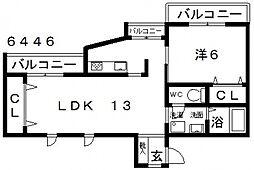 センターフィールド[301号室号室]の間取り
