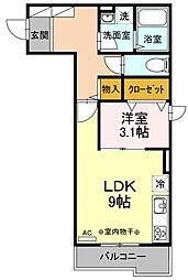 神奈川県川崎市中原区北谷町の賃貸アパートの間取り