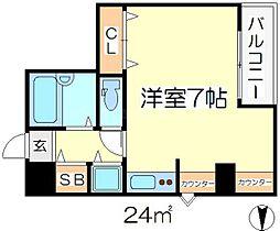 Osaka Metro谷町線 都島駅 徒歩14分の賃貸マンション 4階ワンルームの間取り