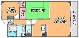 兵庫県神戸市灘区畑原通3丁目の賃貸マンションの間取り