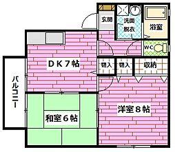 広島県広島市安佐南区祇園2丁目の賃貸アパートの間取り